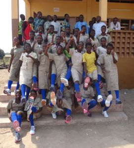 My girls' soccer team with their brand new shoes courtesy of the lovely people of St. Stephen's!