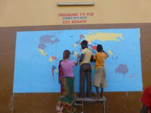 Beginning the world map mural with some students.